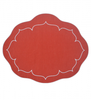 Linho Oval Linen Red Set/4