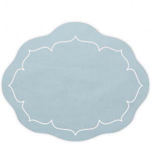 Linho Oval Linen Ice Blue Set/4