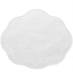 Linho Oval Linen White Set/4