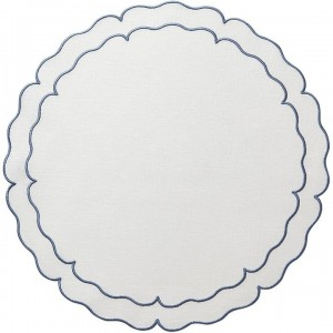 Linho Scalloped Round Placemat White /Blue Set/4