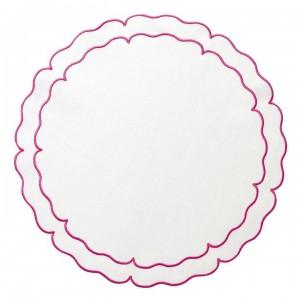 Linho Scalloped Round Placemat White / Fuschia Set/4