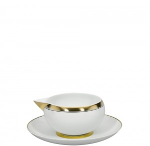 Domo Gold Sauce Boat w/ Plate
