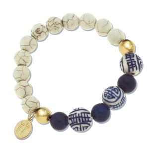 Blue and White Turquoise Lapis Stretch Bracelet