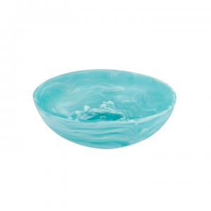 Resin Wave Bowl Small in Aqua Swirl