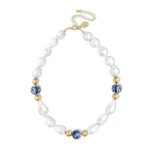 Blue and White Baroque Pearl Necklace