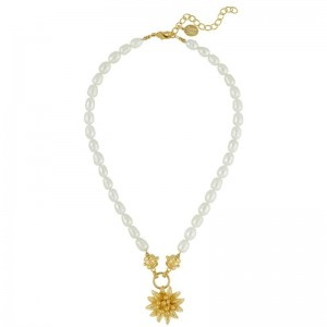 Water Lily Pearl Necklace