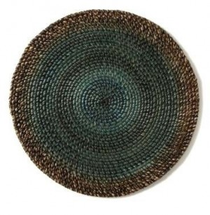 Round Placemat Shaded Rattan Aqua