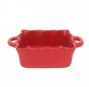 Small Square Ruffled Baker Red