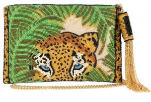 Safari Beaded Leopard Crossbody Clutch