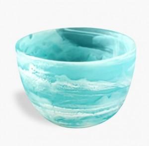 Resin Deep Bowl Small in Aqua Swirl