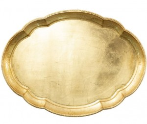 Florentine Wood Gold Large Oval Tray