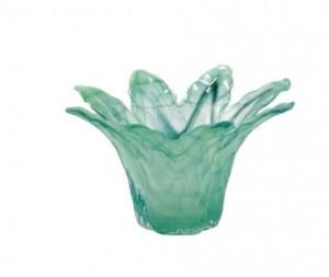 Onda Glass Green Small Leaf Centerpiece