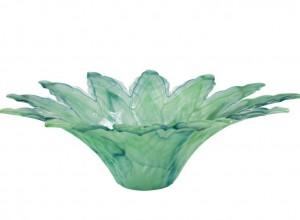 Onda Glass Green Leaf Large Centerpiece