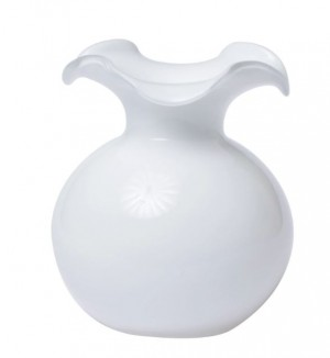 Hibiscus Small White Fluted Vase