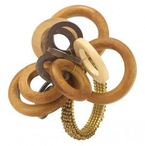 Interlink Wood Napkin Ring Set/4