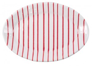 Stripe Red Small Oval Platter