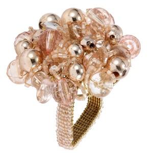 Blush Pink Crystal Corsage Napkin Ring Set/4