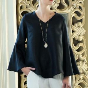 Felicity Bell Sleeve Linen Top