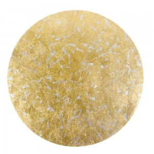 Gold & Silver Leaf Round Lacquer Placemat Set/4