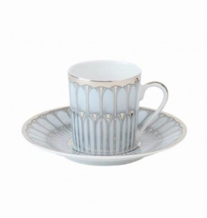 Arcades Grey and Platinum Demitasse Cup and Saucer
