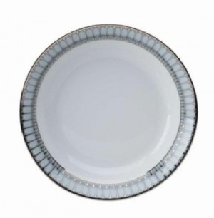 Arcades Grey and Platinum Soup Cereal Plate