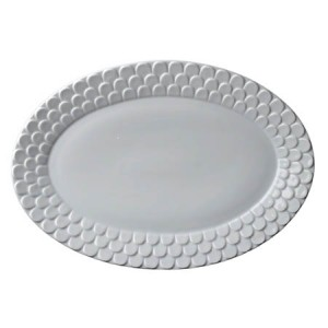 Aegean White Scupted Oval Platter