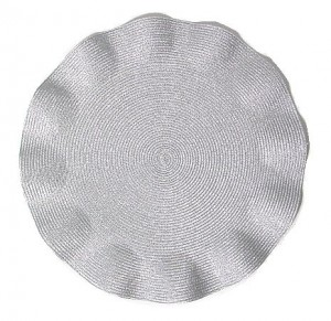 Round Ruffle Placemat in Silver Metallic