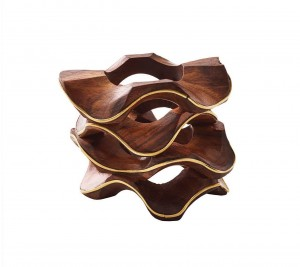 Pavilion Napkin Ring in Brown and Gold Set/4