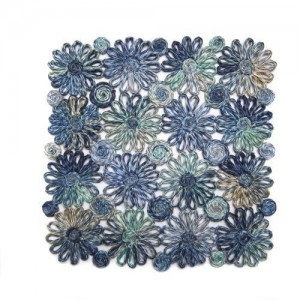 Patchwork Daisy Square Placemat in Blue