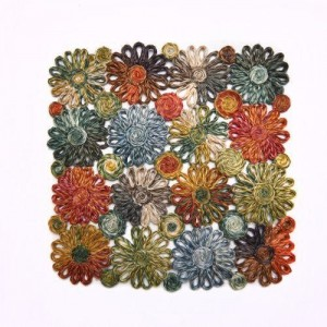 Patchwork Daisy Square Placemat in Grass