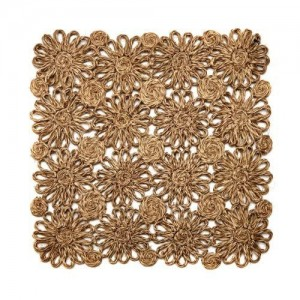 Patchwork Daisy Square Placemat in Taupe