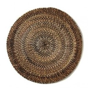 Round Placemat Shaded Rattan Natural
