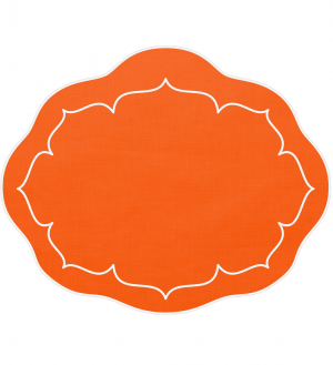 Linho Oval Linen Orange Set/4