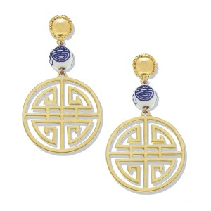 Blue and White Happiness Earrings