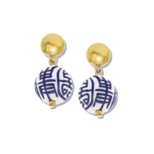 Blue and White Margaret Drop Earrings
