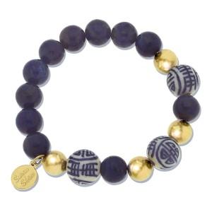 Blue and White Lapis Stretch Bracelet