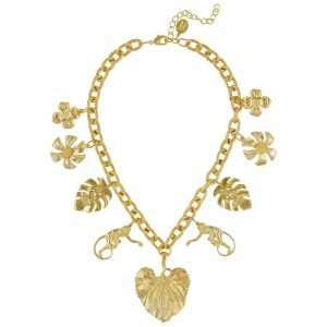 Gold Botanical/Monkey Charm Necklace