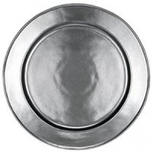 Pewter Stoneware Round Charger Plate