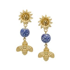 Blue & White Porcelain Sunflower & Bee Earrings