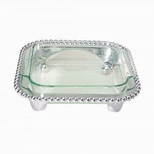 Pearled Square Baker/Casserole and Caddy
