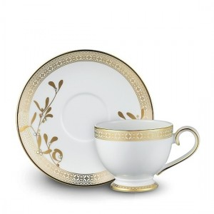 Golden Leaves Tea Cup and Saucer