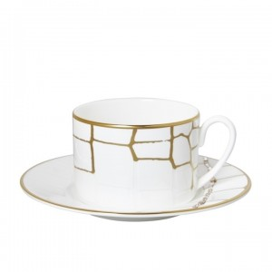 Domenico Vacca Set of 2 Tea Cup and Saucer Alligator Gold Crystals
