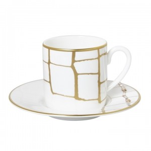 Domenico Vacca Set/2Espresso Cup/Saucer Alligator Gold Crystals