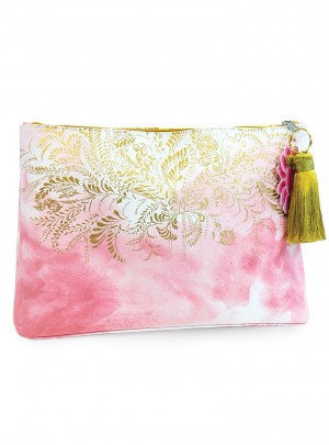 Blush Watercolor Large Accessory Pouch