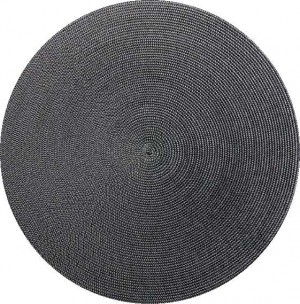 Round Placemat in Black Gray