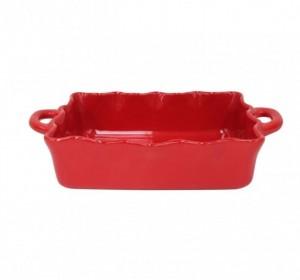 Medium Rectangular Ruffled Baker Red