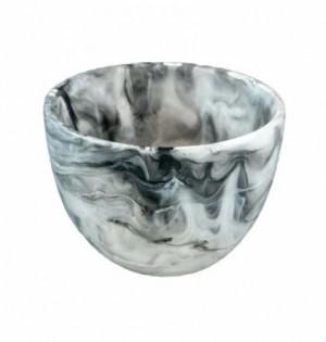 Resin Deep Bowl Small in Black Swirl