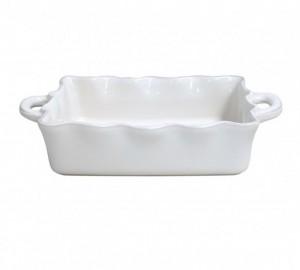 Medium Rectangular Ruffled Baker White