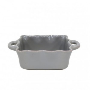 Small Square Ruffled Baker Gray