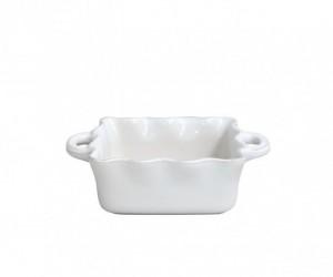 Small Square Ruffled Baker White